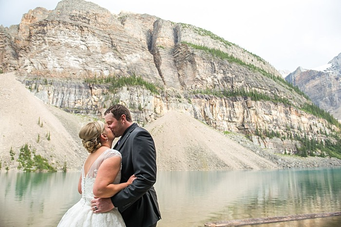 Moraine Lake Elopement | One Edition Photography | Ceremony kiss