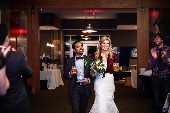 plaid short with wedding dress | winter Revelstoke wedding | Christina Louise Photography