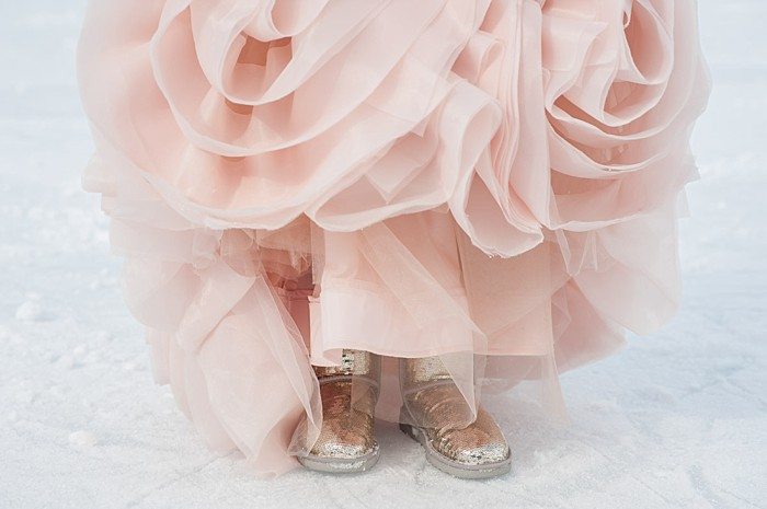 pink wedding dress with gold sequined uggs | Lake Louise winter wedding | Orange Girl photography