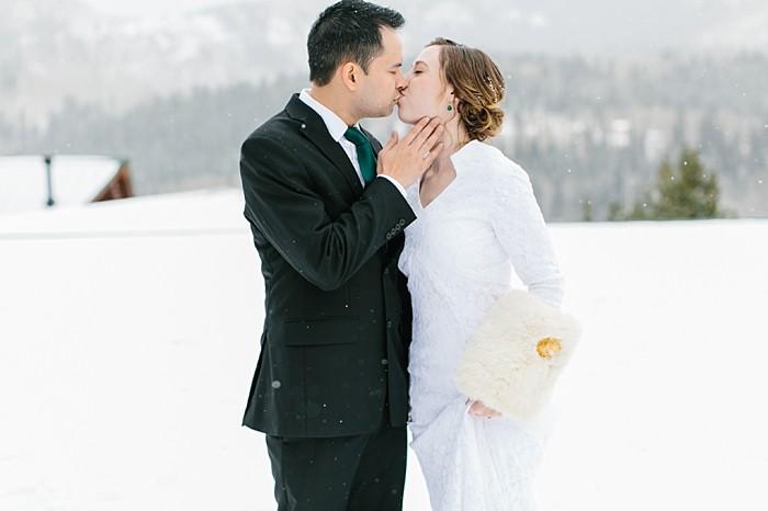 First Look | Frozen Winter Utah Mountain Wedding | Meg Ruth Photo