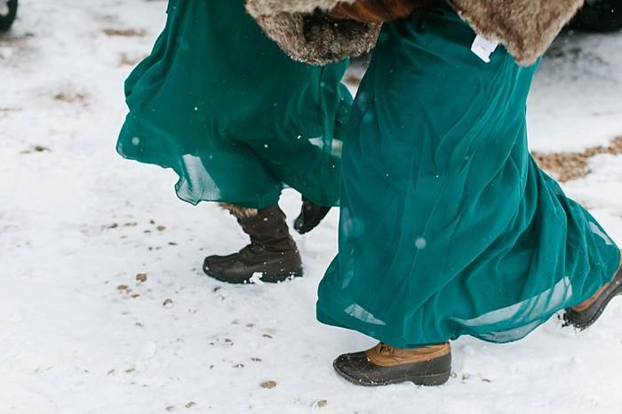 Bridesmaids in winter boots | Frozen Winter Utah Mountain Wedding | Meg Ruth Photo