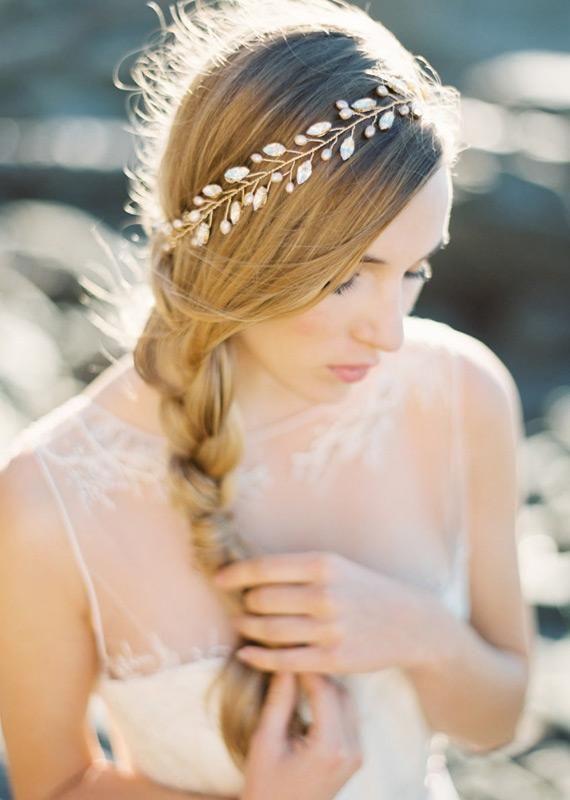 Bridal Crown Gold Marquee-Rhinestone and Blush Pearl Crown Bridal Halo