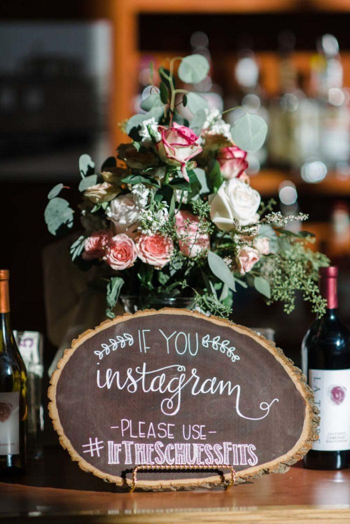 instagram wedding sign | Copper Mountain Wedding Colorado Danielle DeFiore Photography | Via Mountainsidebride.com