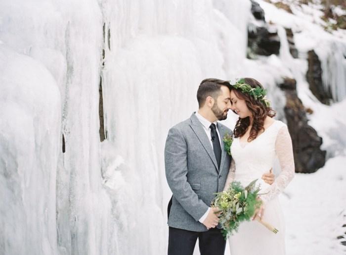 Frozen Waterfall Mountain Elopement in Asheville, NC