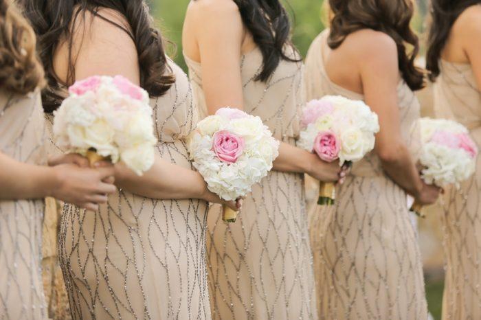 Pink And White Bridesmaids Bouquets | Elegant Park City Wedding St Regis Logan Walker Photography | Via MountainsideBride.com