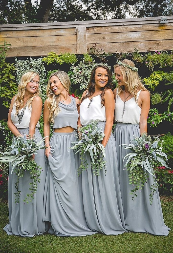 3 Gray Bridesmaid Dresses Pantone 2017 Wedding Inspiration Neutral Gray 720