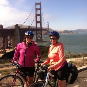 Biking in San Fransisco with my mom.
