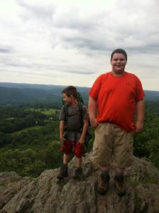 The boys on top of their first mountain.