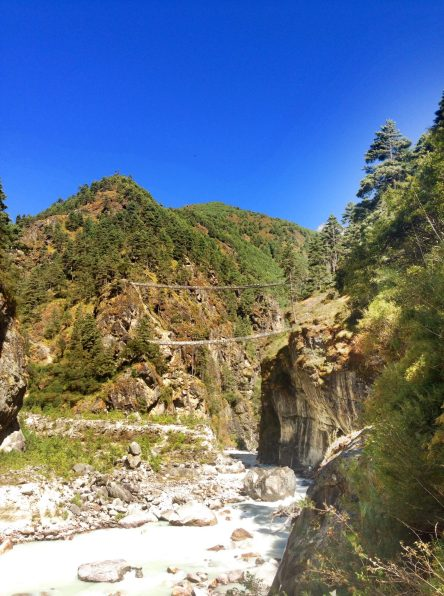 If you squint your eyes you can see the really high suspension bridge that leads to Namche Bazaar.