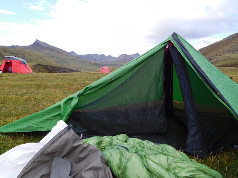 Setting up camp in the Andes.