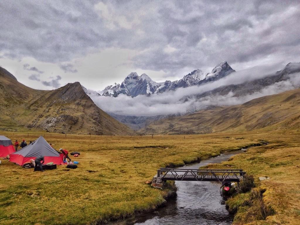Scenic campsites on the Cordillera Huayhuash Circuit