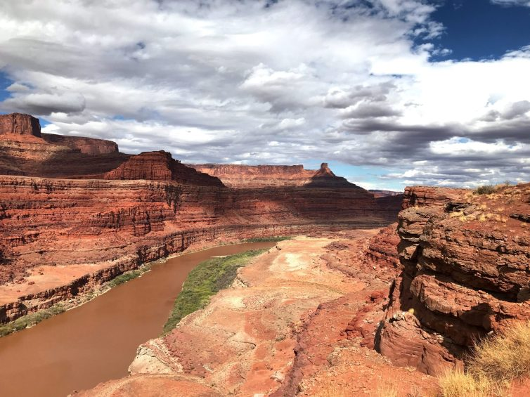 River and layered red rocks in Moab, Utah