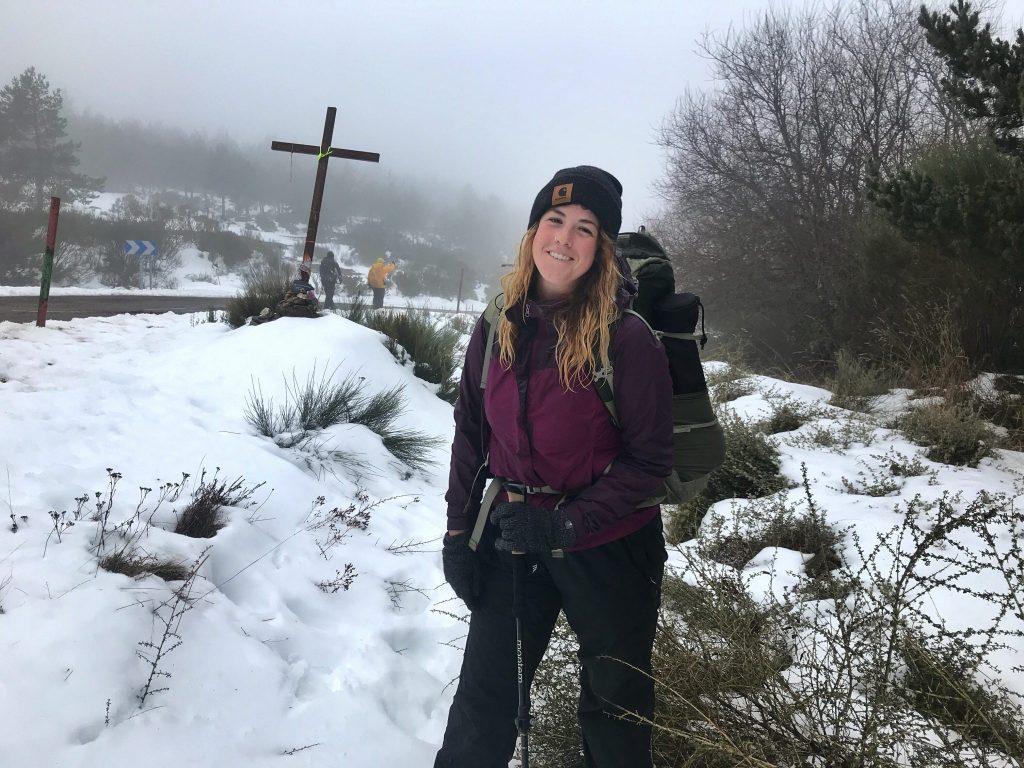 Pilgrim in the snow on the Camino de Santiago.
