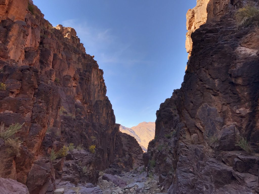 A red desert canyon in Morocco.