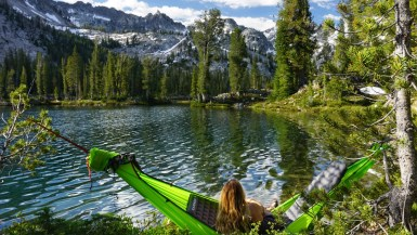 Hammock camping at Alice Lake Stanley Idaho.