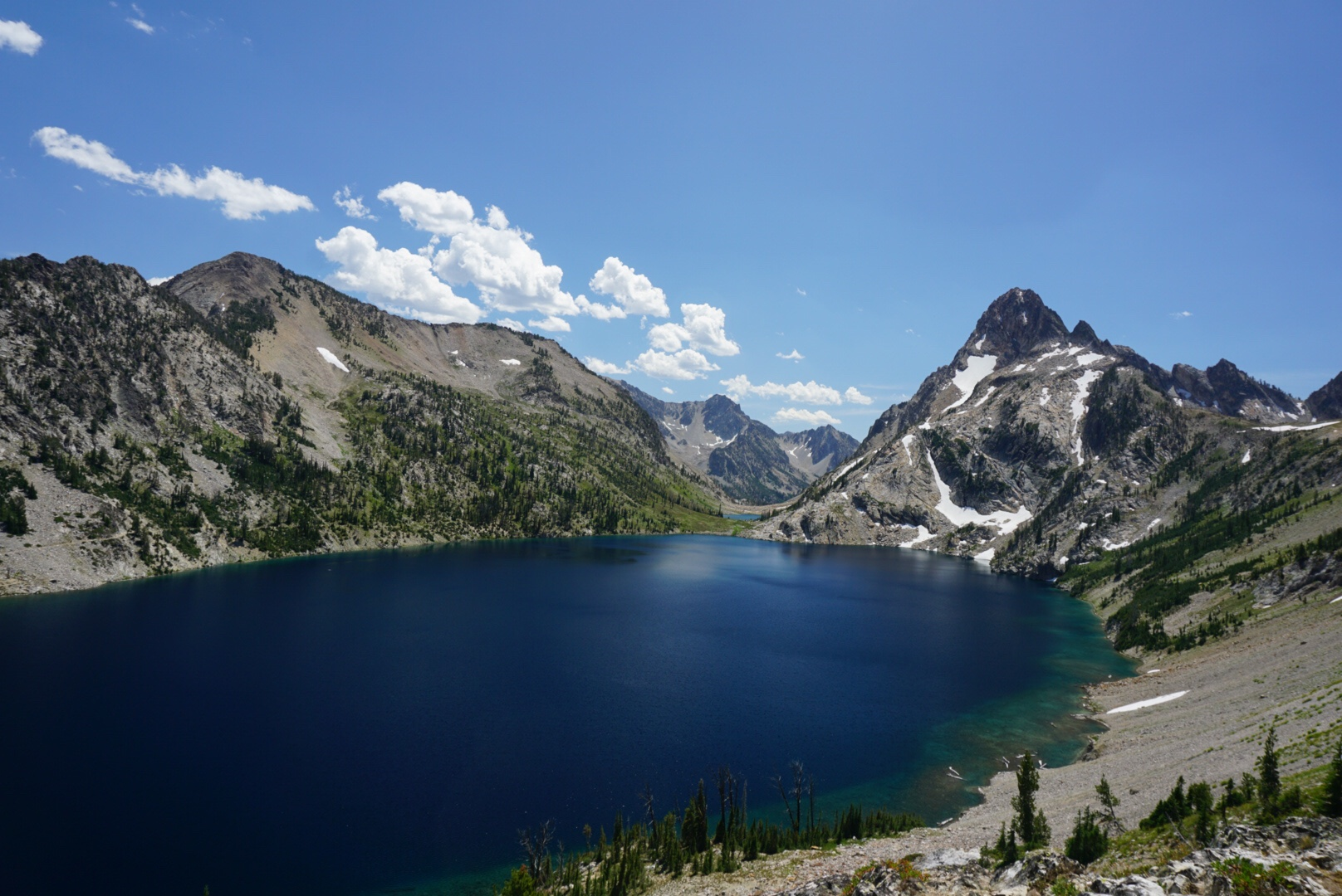 view of sawtooth lake from above
