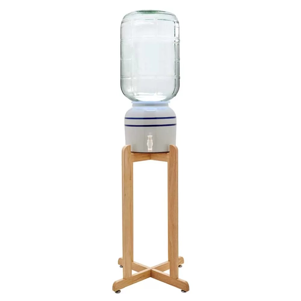 Crock Water Dispenser With Wooden Stand
