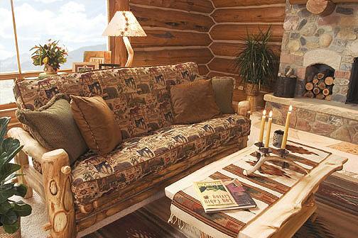Rustic Log Living Room Furniture Log Glider Aspen Log Rockers