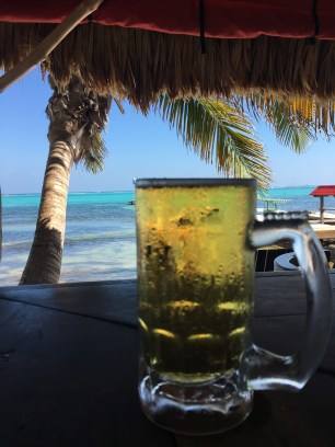 A draft Landshark at Rojo Lounge- Ambergris Caye Belize
