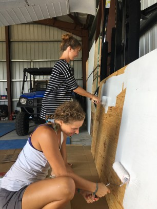 Jess and me painting the big sign for Skydive San Pedro's hangar