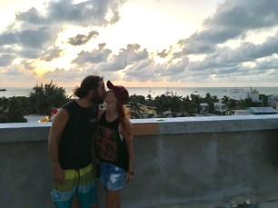 Rocky and me on top of the Enjoy Hotel in Caye Caulker Belize