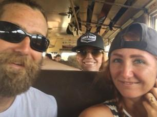 Mandy, Rocky, and me on the bus to San Ignacio, Belize