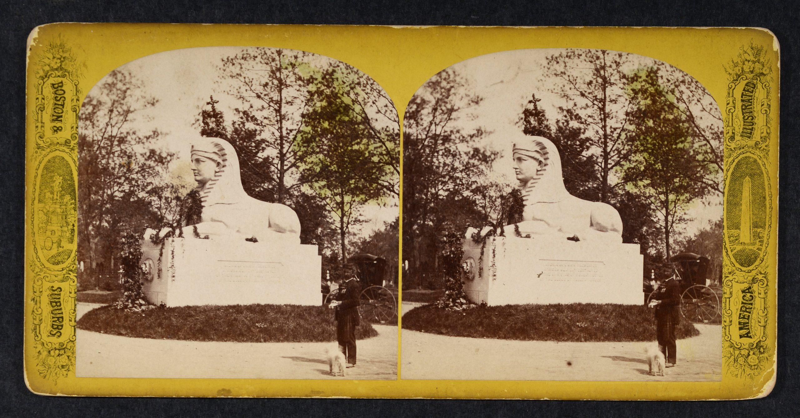Stereoview of large granite sphinx sculpture, black civil war soldier, carriage.