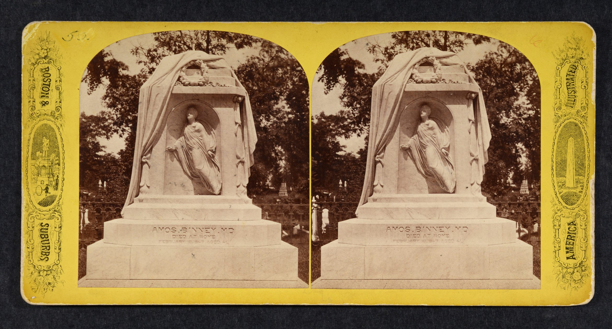 Stereoview of large marble monument, male figure in niche with drapery wreath above.