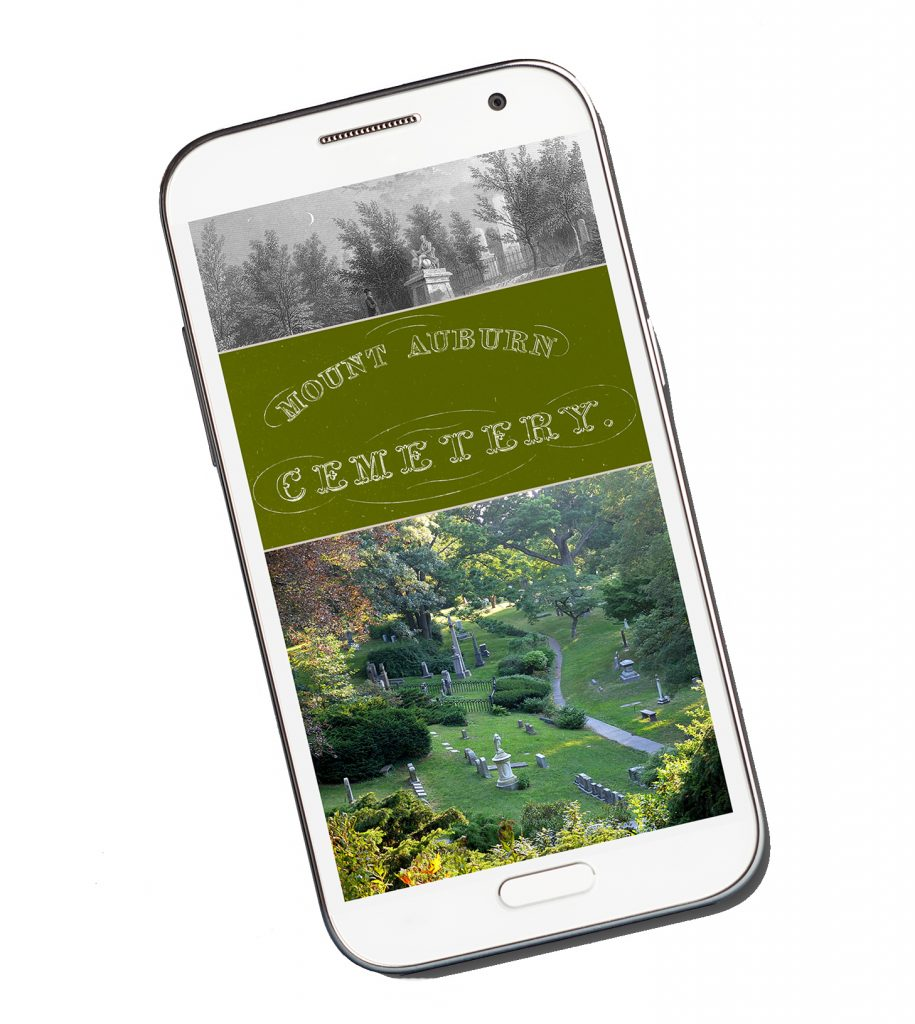 Smart phone displaying home page of Mount Auburn mobile app.