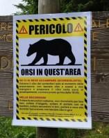 Cartelli pericolo orso