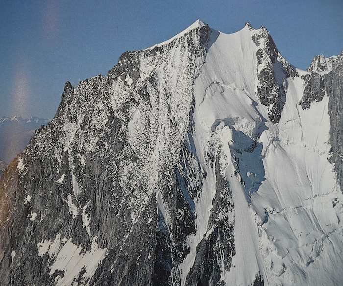 This is the line we are hoping to hit. We would like to hit the coulior. This is the top half. It is 3500 feet of 45 to 55 degrees. It was skied once in 1977. This fact alone freaked me out....