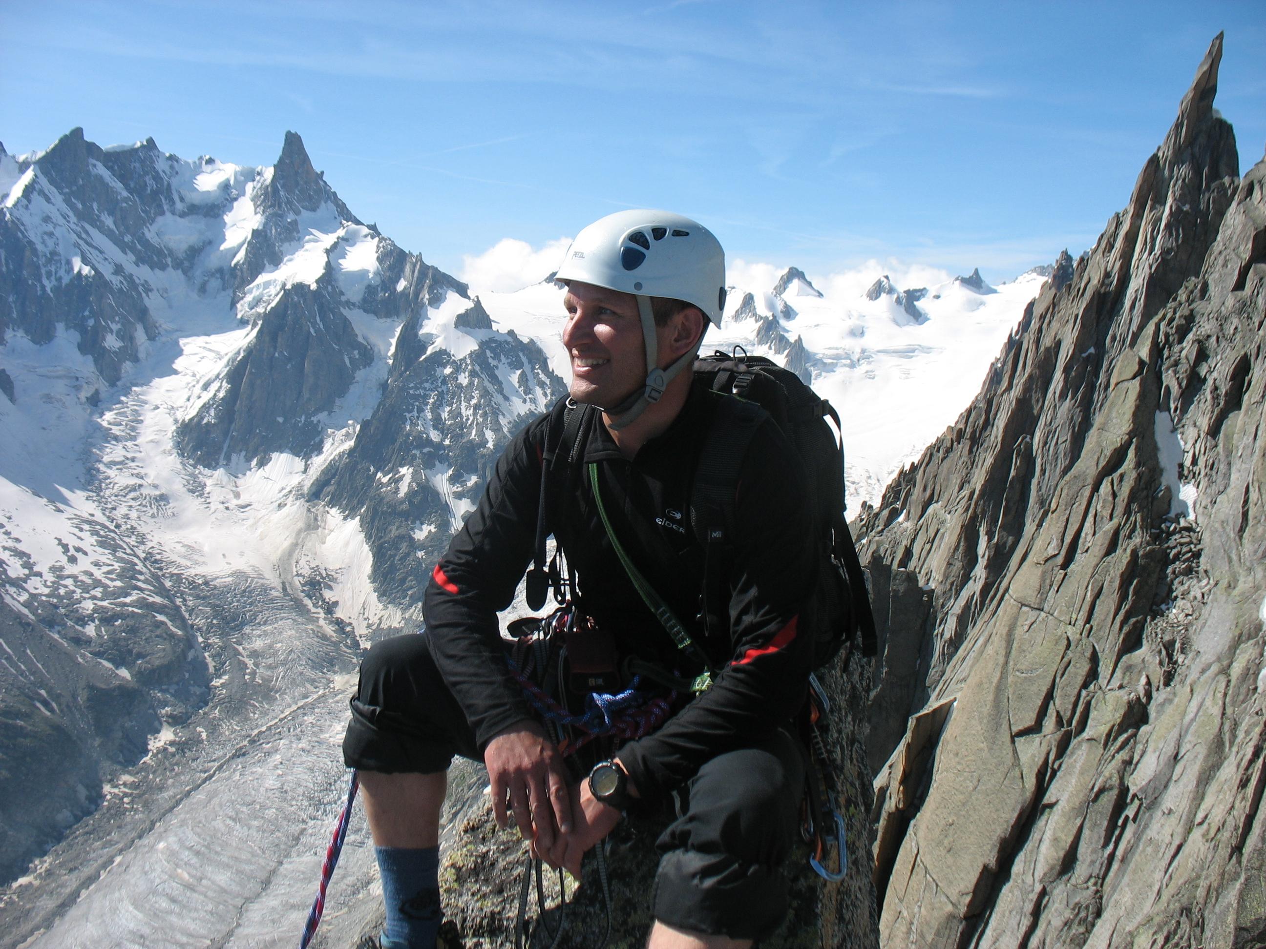 Koen Staelens op de Aig de la Republique 3305m