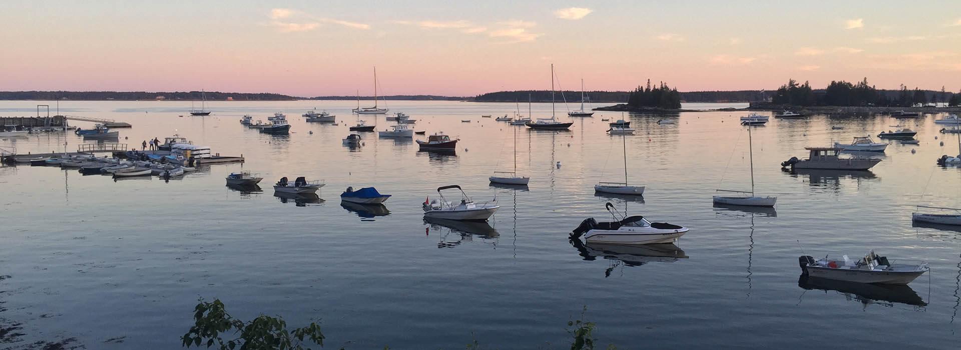 Boats in the harbor at dusk, Bar Harbor, Maine