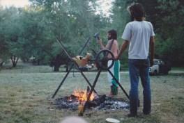 Goat on a spit, 1987. Photo courtesy of Linda.