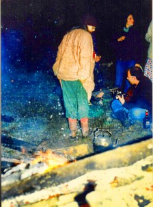 Keeping warm in 1987. Photo courtesy of Linda.
