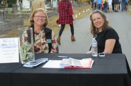 Association members Sarah Hopkins and Kay Tatum greet guests to Tales of the Crypt 2015