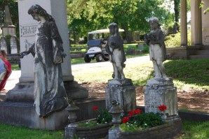 The now-repaired Basham statues, which were nearly destroyed by vandals in the spring of 2016.