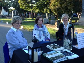 Association members Sissy Clinton, Nancy McDonough, and Frances Cranford greet guests at Tales of the Crypt 2013
