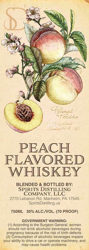 Peach Flavored Whiskey Label