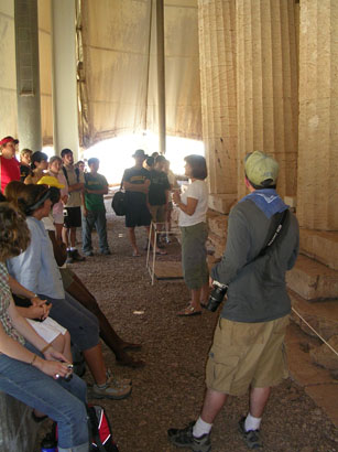 Dr. Mary Voyatzis talks to the group at the Temple of Apollo at Bassae
