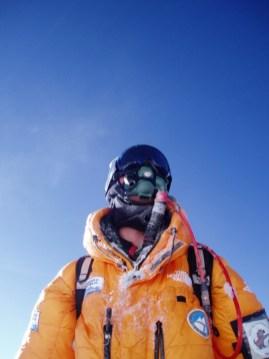 Breathing via oxygen tank on Mount Everest