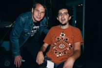 Shepard Fairey with Anthony Macchio backstage at the Charleston Music Hall