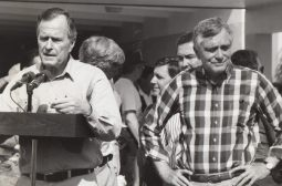 President Bush and Florida governor Lawton Chiles speak to Hurricane Andrew victims