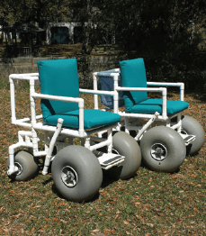 On Call Hospitality rents beach wheelchairs and other types of mobility scooters, as well as standard wheelchairs.