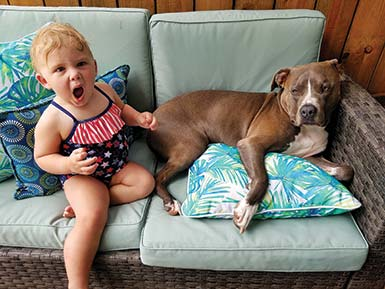 Aliette with dog, Luke