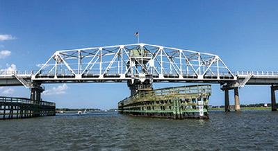 Replacement bridge span on the Ben Sawyer post Hurricane Hugo.