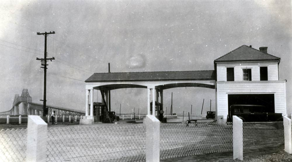Cooper River Bridge - tolls collected on the Mount Pleasant side. (Photo courtesy of Charleston County Public Library.)