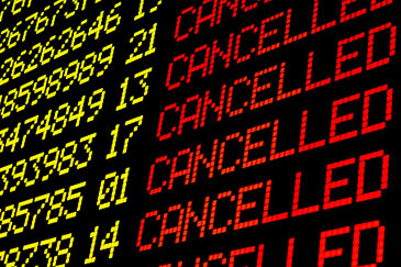 Cancelled flights on an airport display