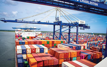 Shipping containers at port in a South Carolina Ports Authority facility