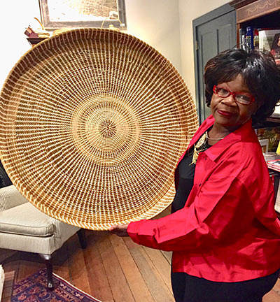Sweetgrass basket by rockstar sweetgrass basket maker Henrietta Snype at the Preservation Society of Charleston